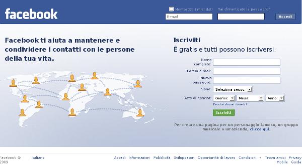 schermata login facebook